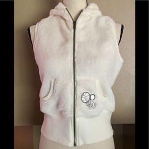 OP soft furry zip up vest with hoodie